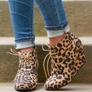 Shoes - Tan Leopard Lace Up Wedge Booties